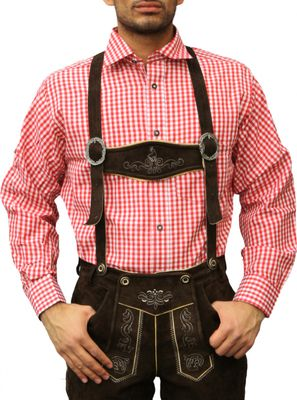 Traditional Bavarian Shirt For Lederhosen/Oktoberfest, Red/Checkered