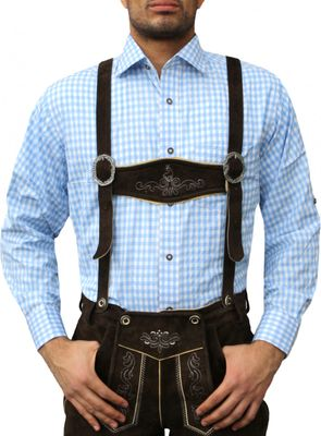 Traditional Bavarian Shirt For Lederhosen,Color: Sky Blue/checkered