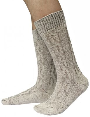 Short Traditional Socks, Stockings, Braided-Look,Color:Cream/ mottled – image 1
