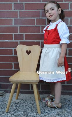 Three Pieces Girl Dirndl ,Trachten Dress Girly,Color:Red/ Cream – image 1