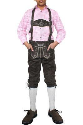 German Wear, Jungen Kniebundhosen kinder Trachtenlederhose lederhose Dunkelbraun – Bild 1