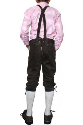 Boys Knee Lenght Pants/ Breeches, Suspenders,Color: Dark Brown – image 3
