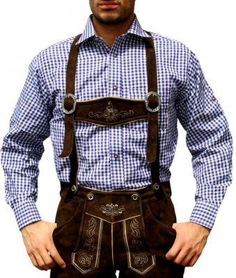 Traditional Bavarian Shirt For Lederhosen Oktoberfest Dark Blue checkered – image 1