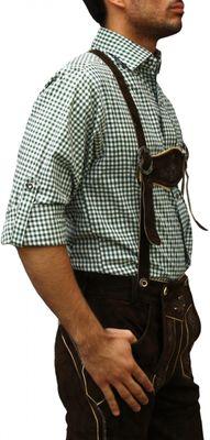 Traditional Bavarian Shirt For Lederhosen,Color:Green/checkered – image 3