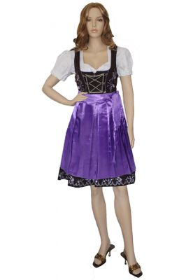 Three Pieces Midi-Dirndl Set Bavaria Oktoberfest Lederhosen,Color:Purple – image 1
