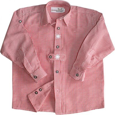 Traditional Bavarian Kids Shirt For Lederhosen, With Edelweiss, Colour: Red – image 2