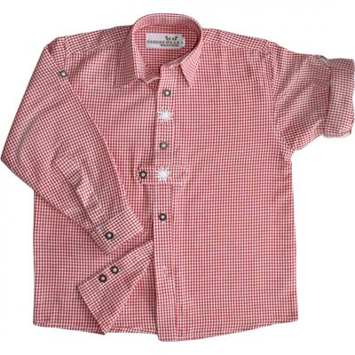Traditional Bavarian Kids Shirt For Lederhosen, With Edelweiss, Colour: Red – image 1
