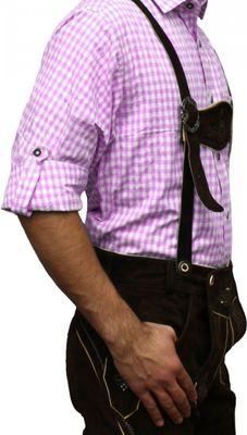 Traditional Bavarian Shirt For Lederhosen/Oktoberfest,Color:Pink/Checkered – image 2