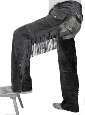 Fringed Western Leather Indian Chaps Pants ,Western Carnival Fasching, Color:Black