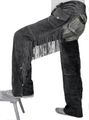 Fringed Western Leather Indian Chaps Pants ,Western Carnival Fasching, Color:Black 001