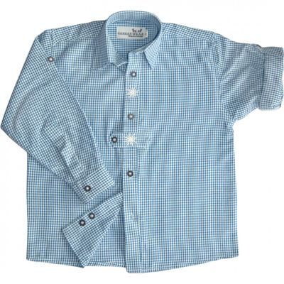 Traditional Bavarian Kids Shirt For Lederhosen, With Edelweiss, Colour: Blue – image 1