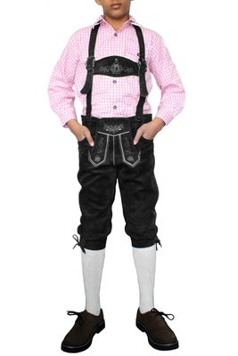 Boys Knee Lenght Pants/ Breeches, Suede Leather, Color:Black – image 1