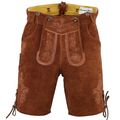 Leather Shorts Trachten Lederhosen With Suspenders,Color:Brown