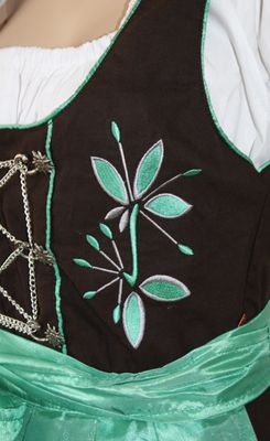 Three Pieces Midi-Dirndl Dress Set ,Bavaria Oktoberfest Lederhosen,Color: Green – image 2