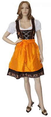 Three Pieces Midi-Dirndl Dress Set ,Bavaria Oktoberfest Lederhosen,Color: Orange – image 1