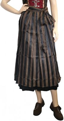 Long Dirndl Apron ,Traditional Apron, Colour: Black and Golden