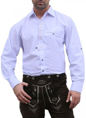 Traditional Bavarian Shirt For the Leather Trousers, Color: White – image 1