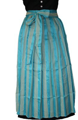 Long Dirndl Apron, Traditional Apron, colour: Turquoise Blue And Golden – image 2