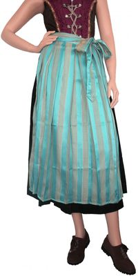 Long Dirndl Apron, Traditional Apron, colour: Turquoise Blue And Golden – image 1