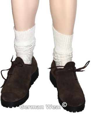 Short Traditional Bavarian Socks, Stockings, Braided Look for Lederhosen,Color: Cream – image 2