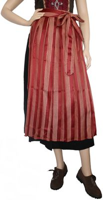 Long Dirndl Apron, Traditional Apron, colour: Red/Gold