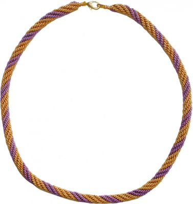 Trachten Cord Necklace,Color:Lilac And Gold
