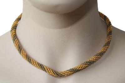 Trachtenkordel Kordel Kette Anhänger Metall gold khaki Trachten