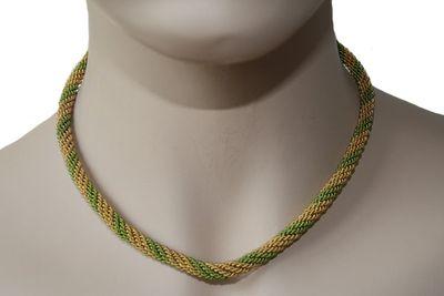 German Wear, Trachtenkordel Kordel Kette Anhänger Metall gold hellgrün Trachten