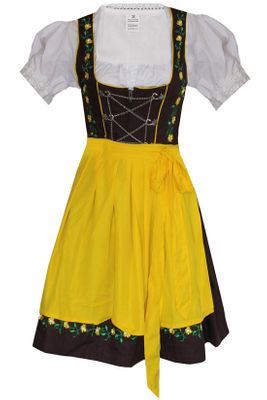 Three Pieces Mini-Dirndl Set, Bavarian Dress Oktoberfest,Color:Yellow – image 1
