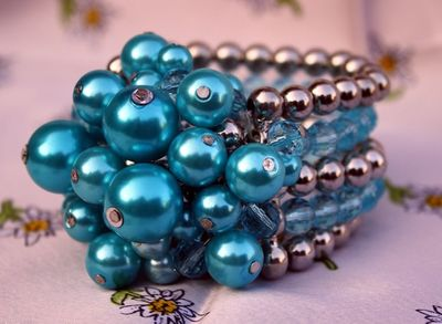 Trachten Wristband Pearl-Imitation Jewlery,Color:Turquois