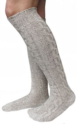Extra long traditional socks, Stockings, Braided-look,Color: Cream/Mottled – Bild 2