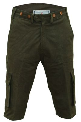 Cargo Hunting Pants, Knee Lenght, Leather Trousers,Color:Green