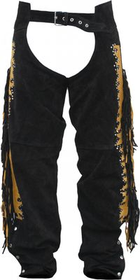 Western Leather Indian Chaps Pants ,Western Carnival Fasching, Color:Black – image 1