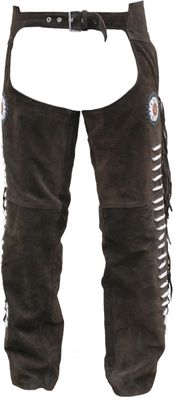 Western Leather Indian Chaps Pants ,Western Carnival Fasching, Color:Dark Brown