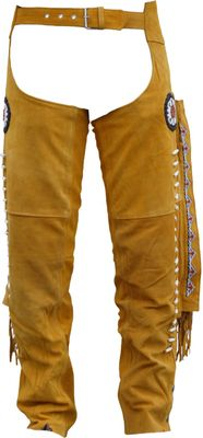 Western Leather Indian Chaps Pants ,Western Carnival Fasching, Color:Ocher – image 2