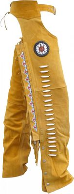 Western Leather Indian Chaps Pants ,Western Carnival Fasching, Color:Ocher – image 1