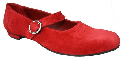 Ladies Bavarian Traditional Shoes, Suede Leather, Color: Dark Red – image 4
