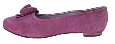 Ladies Bavarian Traditional Shoes , Suede Leather, Color:Purple with Blossom – image 3