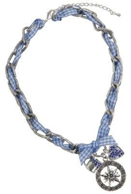 Trachten Necklace ,Multiple Pendants Paste Gems Metal,Color:Blue/White Checkered