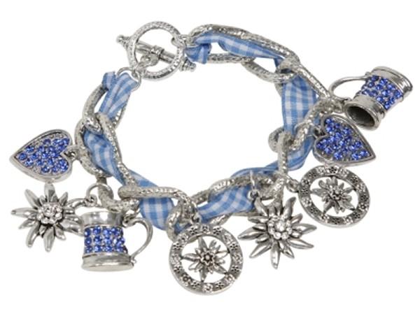 Trachtenarmband Armband Trachtenschmuck Charivari blau Edelweiß Bier