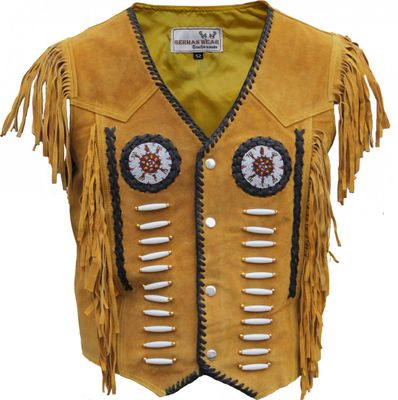 Western Leather Vest, Indian Western Carnival Fasching Jacket, Color:Ocher – image 1