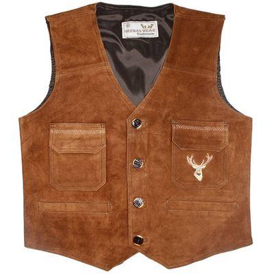 Leather Vest ,Cow Suede Carneval Jacket ,Color: Chestnut Brown