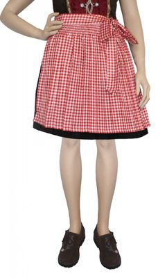 Apron For Mini Dirndl ,Traditional Apron, Colour: Red Checkered – image 2
