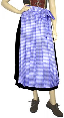 Apron For Long Dirndl ,Traditional Apron, Colour: Blue Checkered