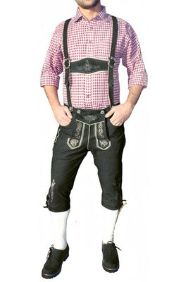 Knee Lenght Pants/ Breeches With Suspenders,Color: Black