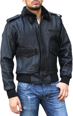 Leather Motorcycle Bomber Pilots Jacket, Color: Black – image 1