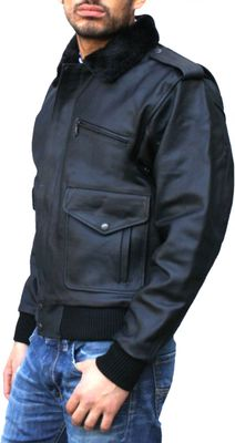 Leather Motorcycle Bomber Pilots Jacket, Color: Black – image 3