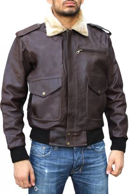Leather Motorcycle Bomber Pilots Jacket,Color: Brown – image 1