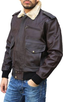 Leather Motorcycle Bomber Pilots Jacket,Color: Brown – image 3