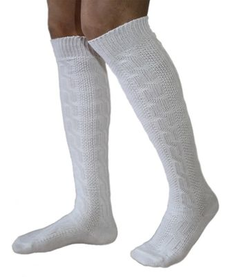 Long Traditional Socks, Knee Lengh Stockings, Braided-Look,Color: White – image 2